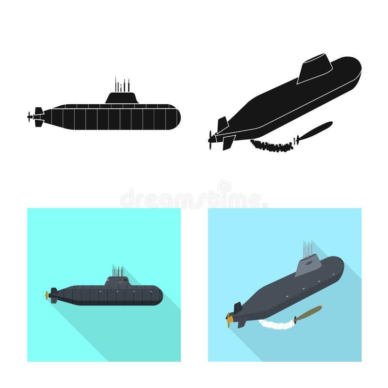 Vectorillustratie van oorlog en schipsymbool Inzameling van oorlog en het symbool van de vlootvoorraad voor Web vector illustratie