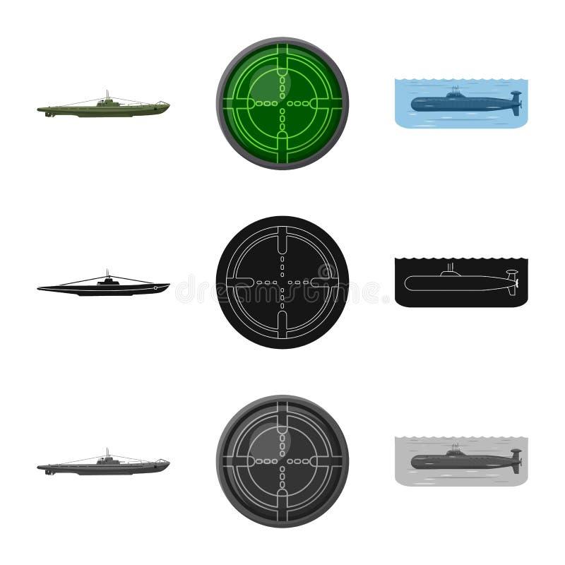 Vectorillustratie van oorlog en schipsymbool Reeks van oorlog en de vectorillustratie van de vlootvoorraad vector illustratie