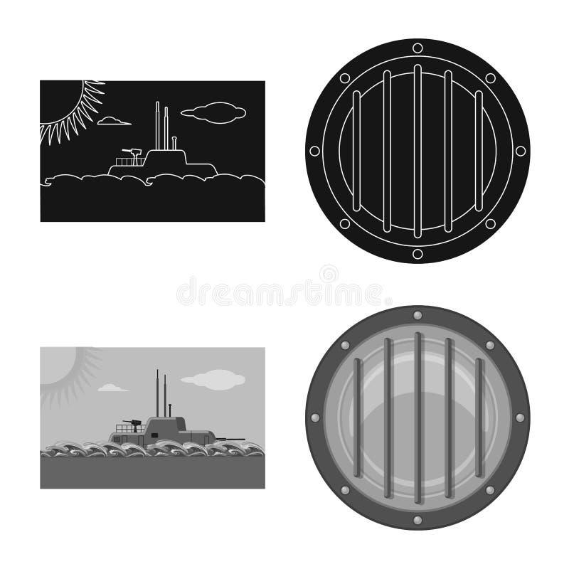 Vectorillustratie van oorlog en schipsymbool Reeks van oorlog en het symbool van de vlootvoorraad voor Web vector illustratie