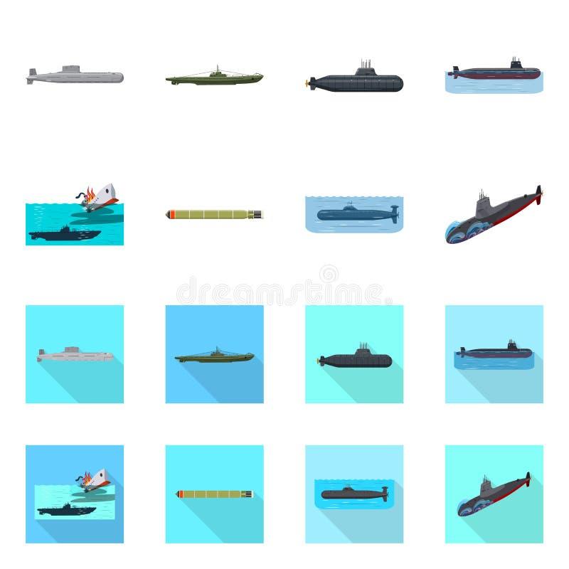 Vectorillustratie van oorlog en schipsymbool Reeks van oorlog en vloot vectorpictogram voor voorraad royalty-vrije illustratie