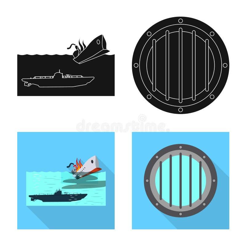 Vectorillustratie van oorlog en schipteken Inzameling van oorlog en de vectorillustratie van de vlootvoorraad vector illustratie