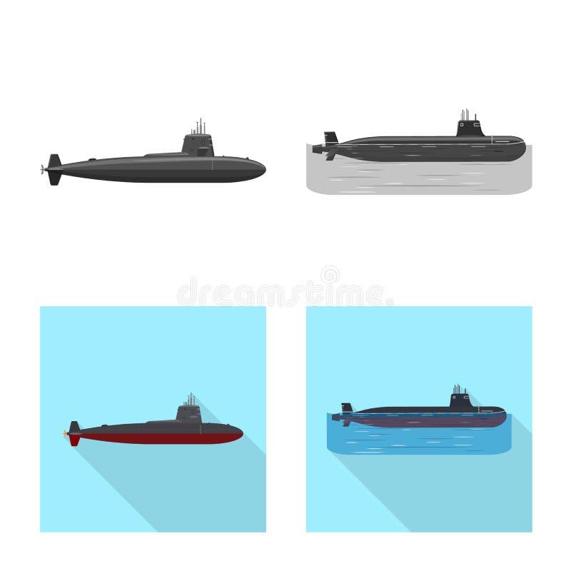 Vectorillustratie van oorlog en schipteken Inzameling van oorlog en het symbool van de vlootvoorraad voor Web vector illustratie