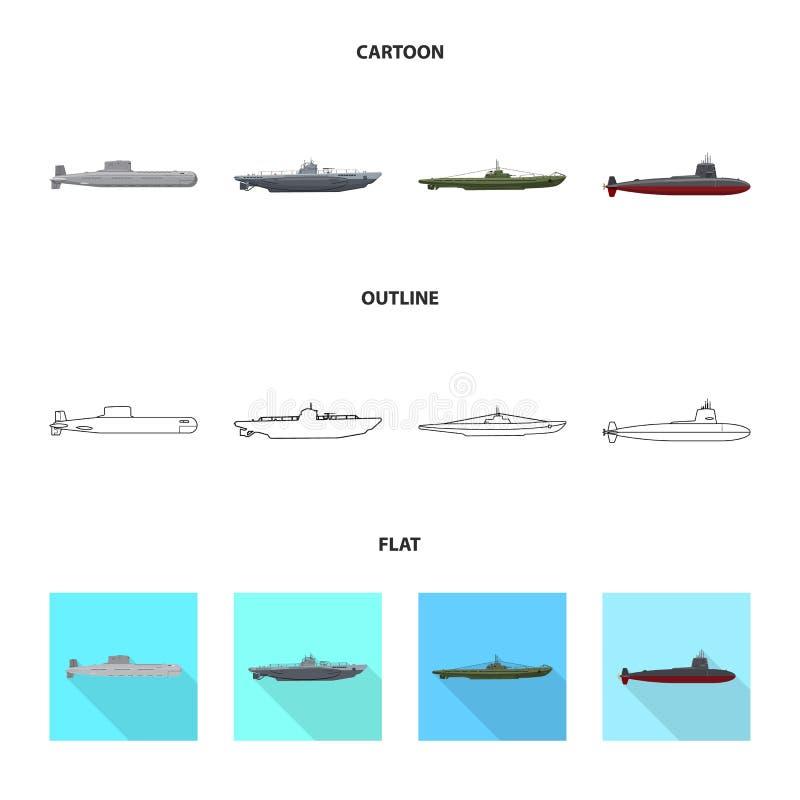 Vectorillustratie van oorlog en schipteken Inzameling van oorlog en het symbool van de vlootvoorraad voor Web stock illustratie
