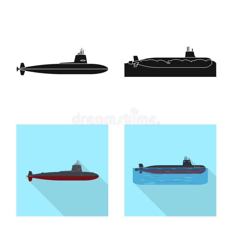 Vectorillustratie van oorlog en schipteken Inzameling van oorlog en vloot vectorpictogram voor voorraad stock illustratie