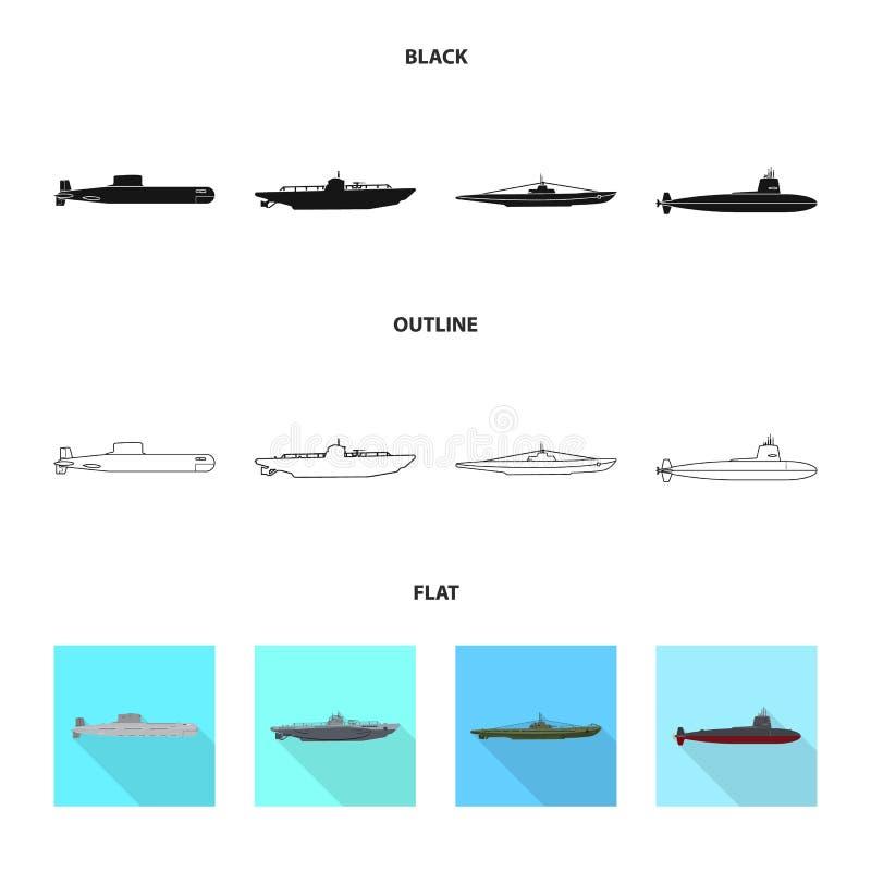 Vectorillustratie van oorlog en schipteken Inzameling van oorlog en vloot vectorpictogram voor voorraad vector illustratie