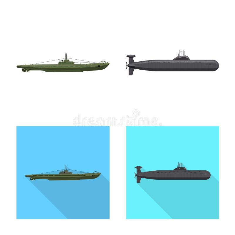 Vectorillustratie van oorlog en schipteken Reeks van oorlog en het symbool van de vlootvoorraad voor Web vector illustratie