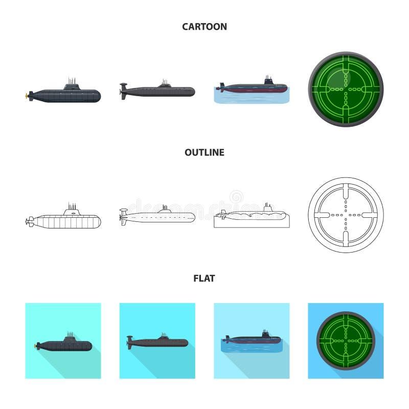 Vectorillustratie van oorlog en schipteken Reeks van oorlog en het symbool van de vlootvoorraad voor Web royalty-vrije illustratie