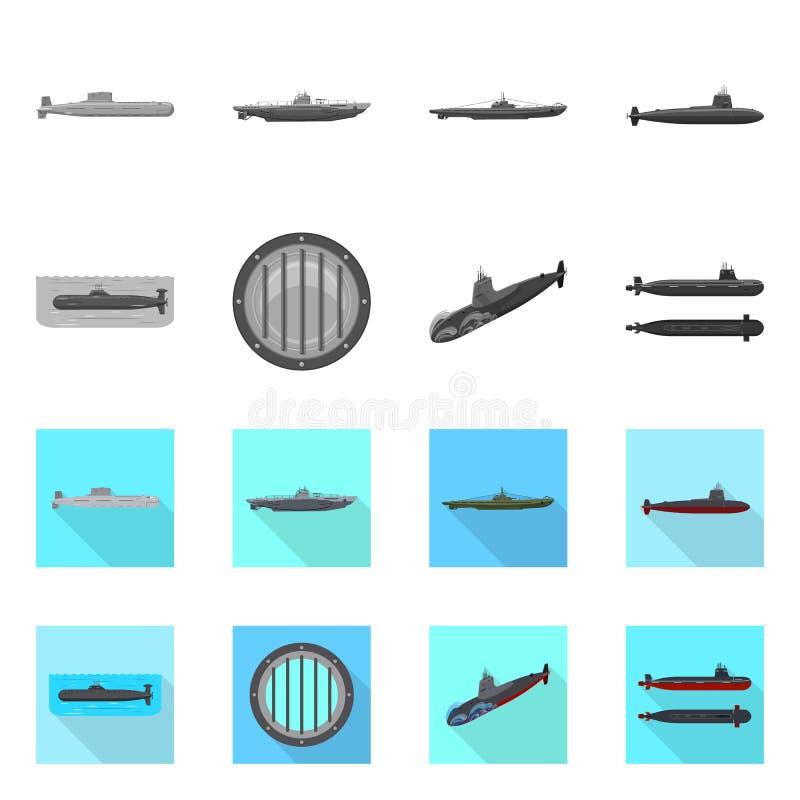 Vectorillustratie van oorlog en schipteken Reeks van oorlog en vloot vectorpictogram voor voorraad stock illustratie