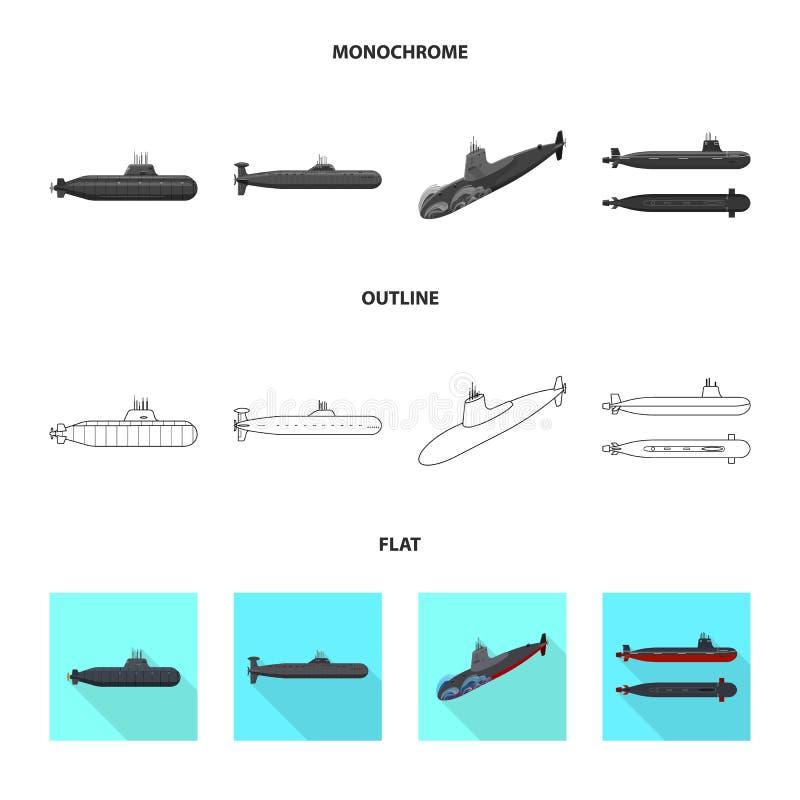 Vectorillustratie van oorlog en schipteken Reeks van oorlog en vloot vectorpictogram voor voorraad royalty-vrije illustratie