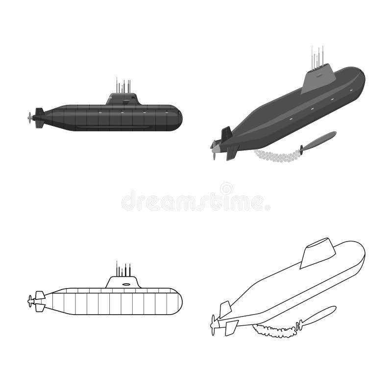 Vectorillustratie van oorlog en schipteken Reeks van oorlog en vloot vectorpictogram voor voorraad vector illustratie