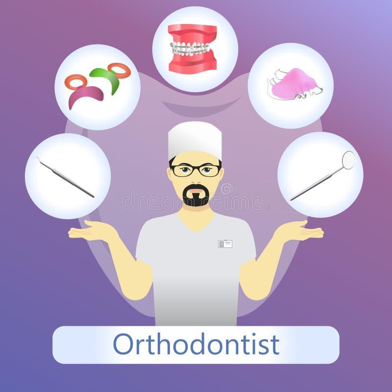 Vectorillustratie van orthodontist met defferent tandinstrumenten stock afbeeldingen