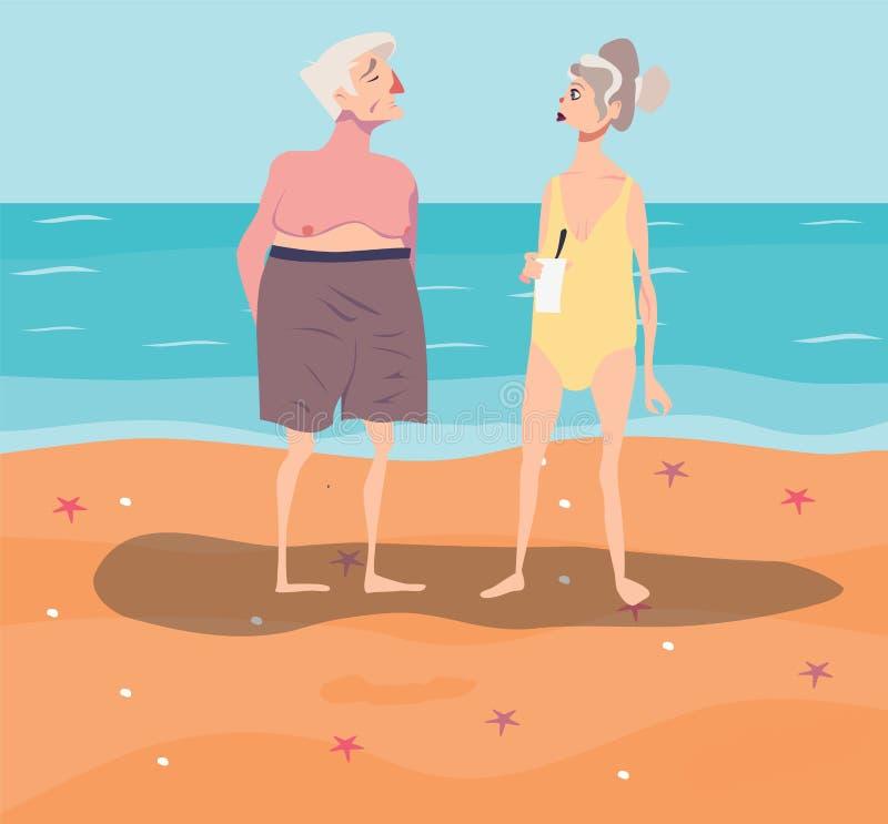 Vectorillustratie van oud-verouderd paar die rust op strand hebben royalty-vrije illustratie