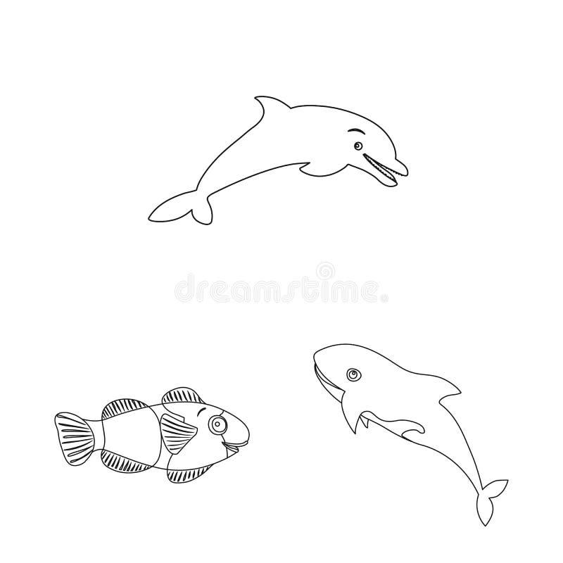Vectorillustratie van overzees en dierlijk pictogram Reeks van overzees en marien voorraadsymbool voor Web stock illustratie