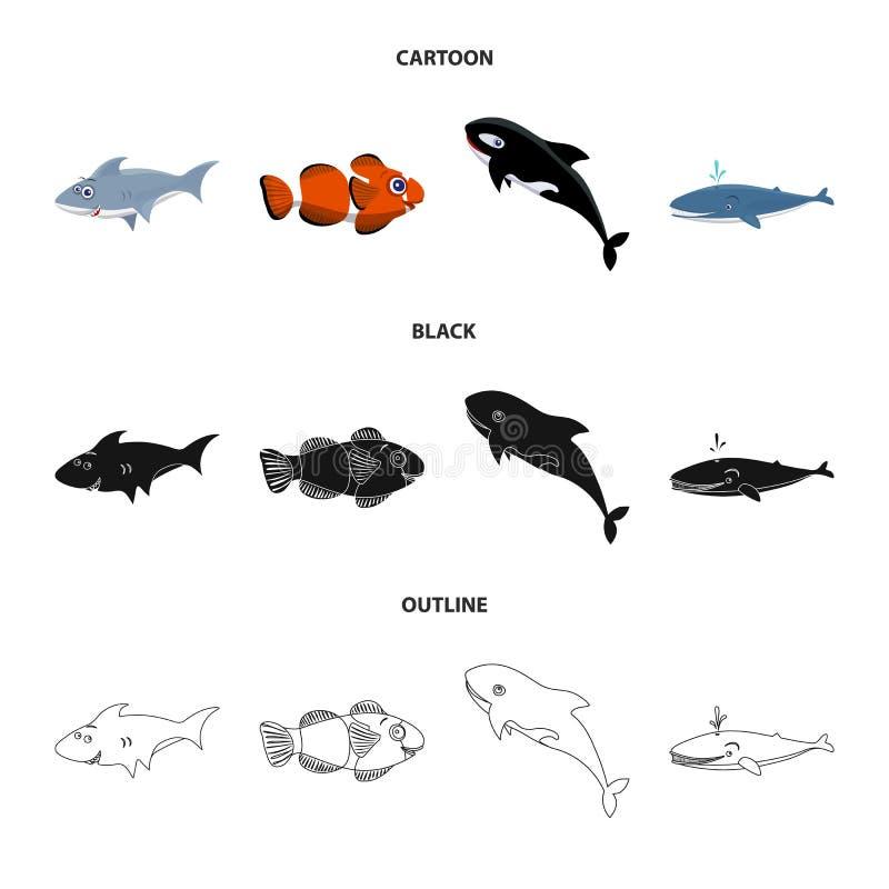 Vectorillustratie van overzees en dierlijk teken Inzameling van overzees en marien voorraadsymbool voor Web vector illustratie