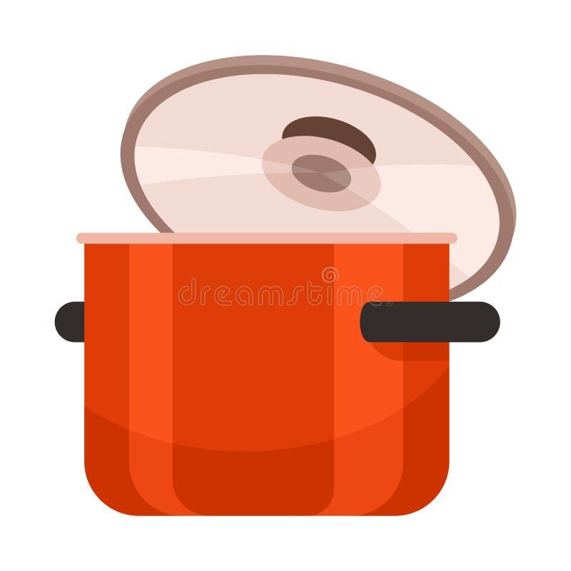 Vectorillustratie van pan en pottenpictogram Reeks van pan en kokvoorraad vectorillustratie royalty-vrije illustratie