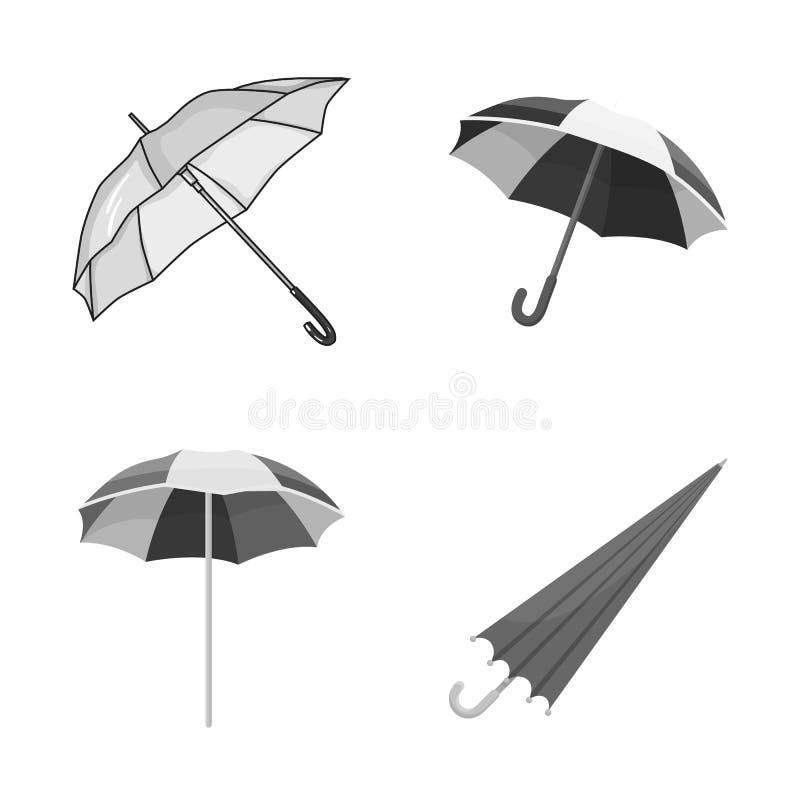 Vectorillustratie van paraplu en wolkenembleem Reeks van paraplu en regenvoorraadsymbool voor Web royalty-vrije illustratie