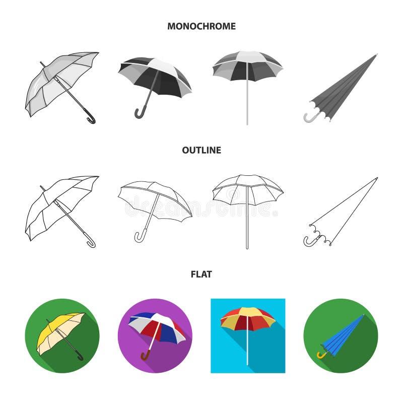 Vectorillustratie van paraplu en wolkensymbool Inzameling van paraplu en regenvoorraadsymbool voor Web vector illustratie