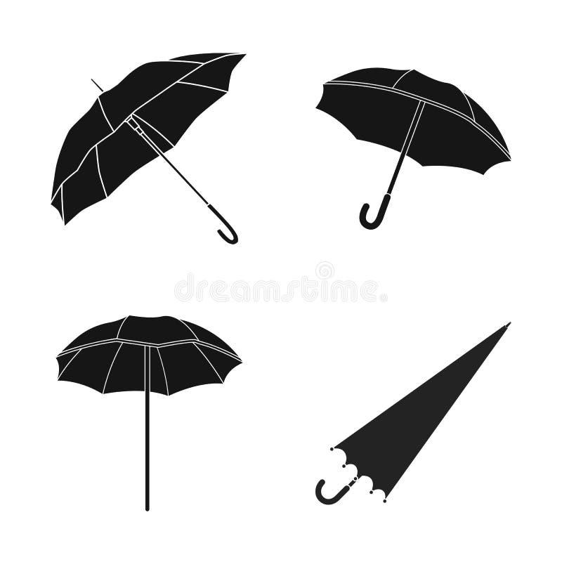 Vectorillustratie van paraplu en wolkenteken Inzameling van paraplu en regenvoorraad vectorillustratie royalty-vrije illustratie