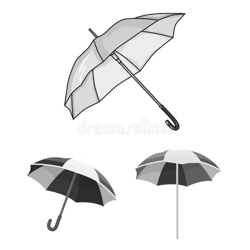 Vectorillustratie van paraplu en wolkenteken Inzameling van paraplu en regenvoorraadsymbool voor Web stock illustratie