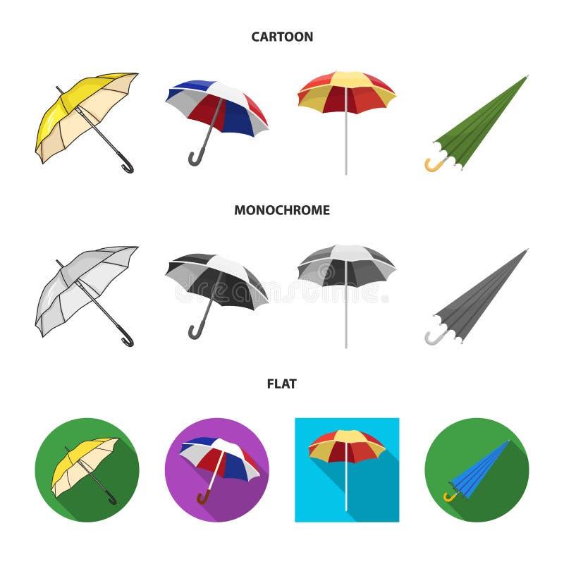 Vectorillustratie van paraplu en wolkenteken Inzameling van paraplu en regenvoorraadsymbool voor Web vector illustratie