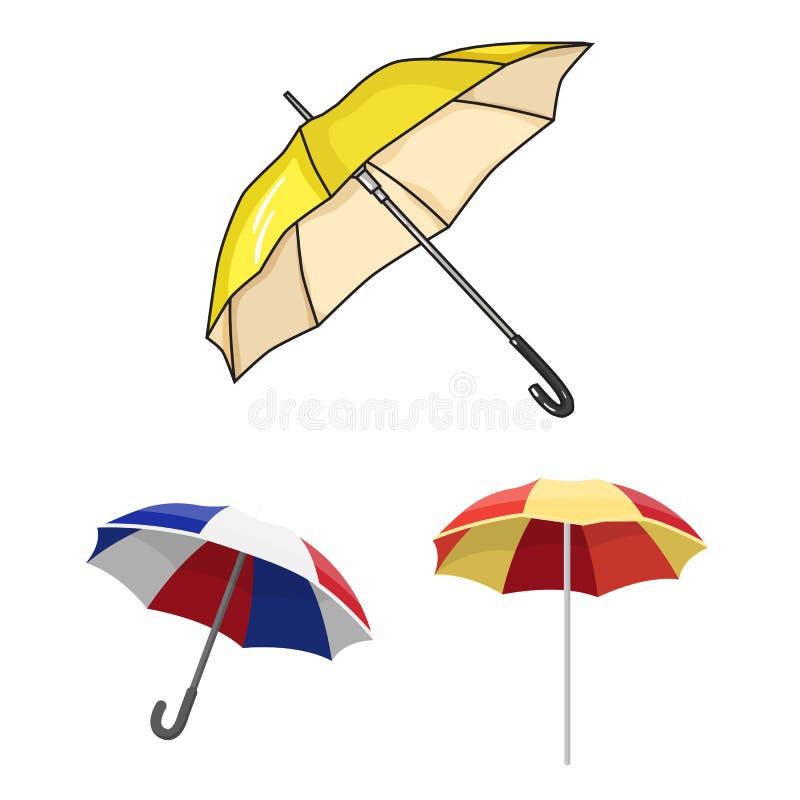 Vectorillustratie van paraplu en wolkenteken Reeks van paraplu en regenvoorraad vectorillustratie stock illustratie