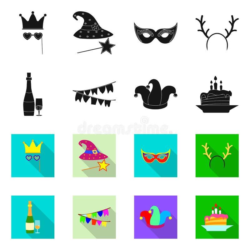 Vectorillustratie van partij en verjaardagsembleem Inzameling van partij en vierings vectorpictogram voor voorraad stock illustratie