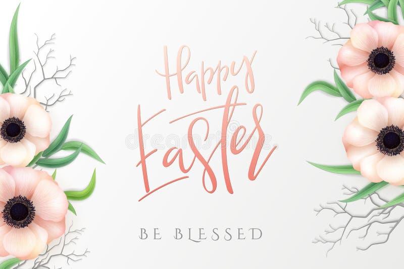 Vectorillustratie van Pasen-de bannermalplaatje van daggroeten met hand van letters voorziend etiket - gelukkige Pasen met realis vector illustratie