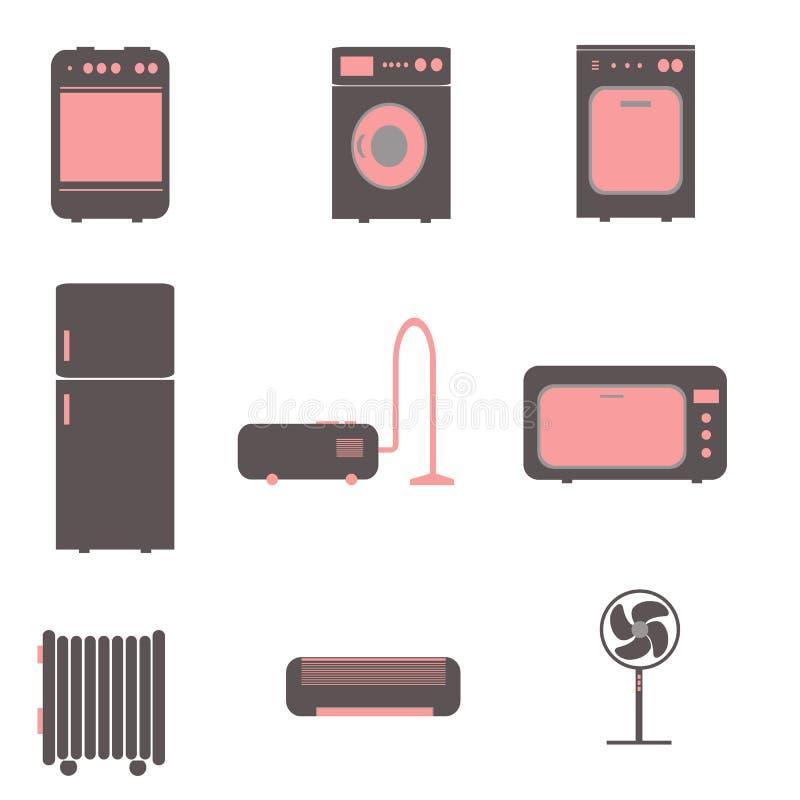 Vectorillustratie van pictogrammen op het onderwerp van huishoudapparaten vector illustratie