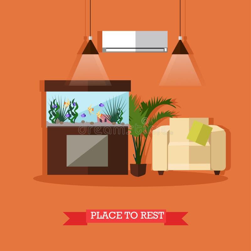 Vectorillustratie van plaats aan rust, element van het huis het binnenlandse ontwerp royalty-vrije illustratie