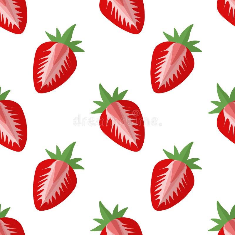 Vectorillustratie van plakken van aardbeien op een lichte achtergrond Helder naadloos patroon met een beeld van sappige aardbeien vector illustratie