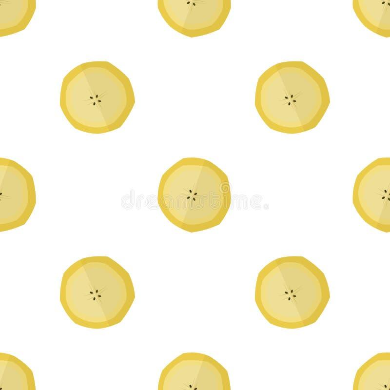 Vectorillustratie van plakken van bananen op een lichte achtergrond Helder naadloos patroon met een banaanbeeld royalty-vrije illustratie