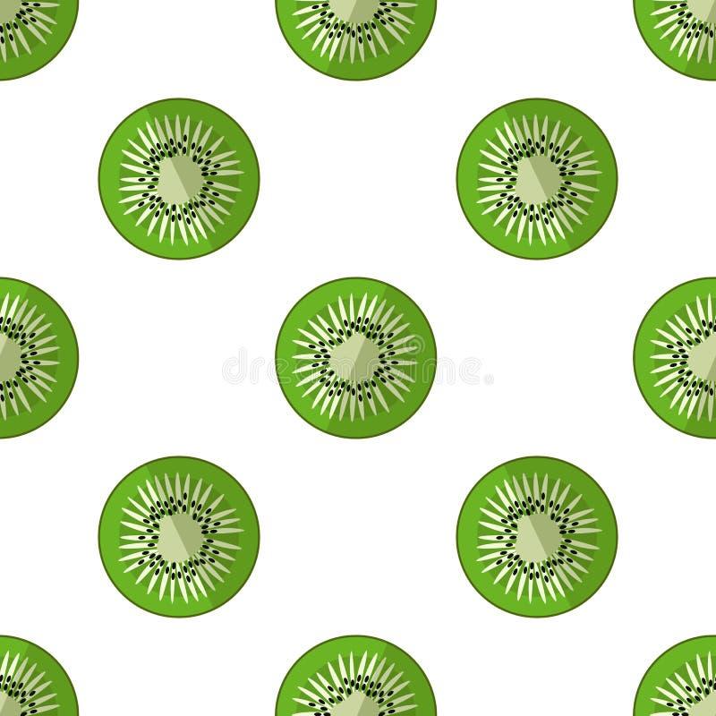 Vectorillustratie van plakken van kiwi op een lichte achtergrond Helder fruitig naadloos patroon met een sappig kiwibeeld royalty-vrije illustratie