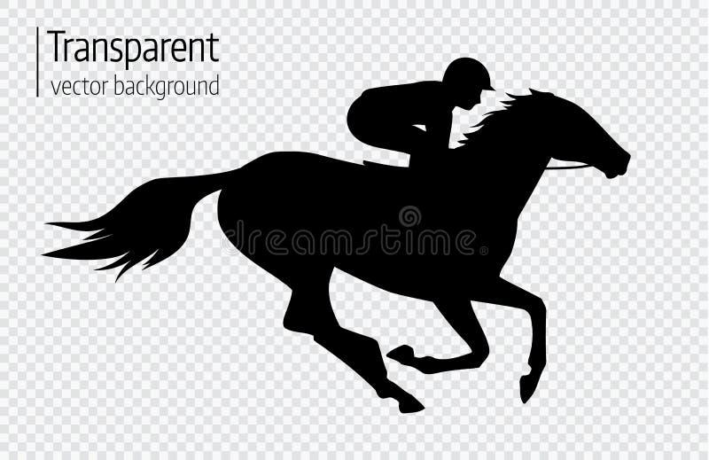 Vectorillustratie van raspaard met jockey Zwarte geïsoleerd silhouet op transparante achtergrond De ruiterconcurrentie lo stock illustratie