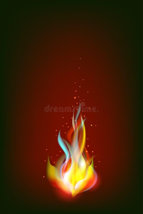 Vectorillustratie van realistisch die vuur op donkere achtergrond wordt geïsoleerd stock illustratie
