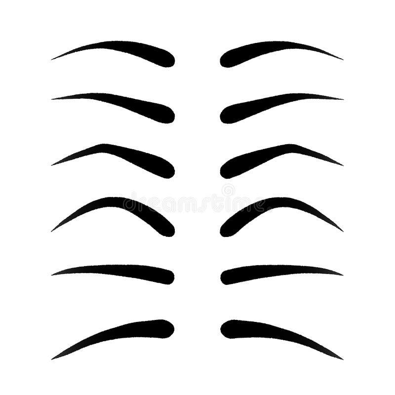 Vectorillustratie van reeks pluizige wenkbrauwen vector illustratie