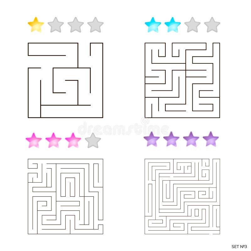 Vectorillustratie van reeks van 4 vierkante labyrinten voor jonge geitjes royalty-vrije illustratie