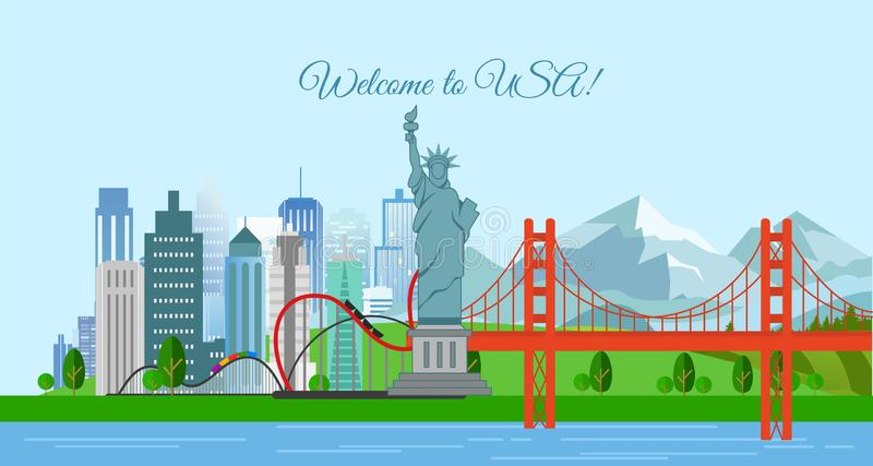 Vectorillustratie van reisconcept, Onthaal aan de V.S. De affiche van de Verenigde Staten van Amerika met de meeste beroemde gebo royalty-vrije illustratie