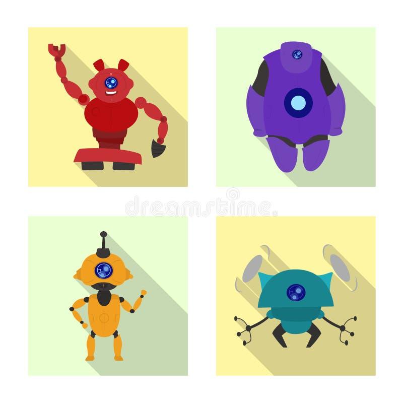Vectorillustratie van robot en fabrieksteken Inzameling van robot en ruimte vectorpictogram voor voorraad royalty-vrije illustratie