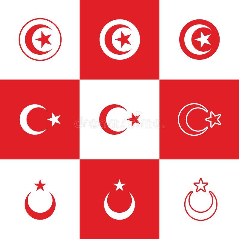 Vectorillustratie van Rode Crescent Moon en Ster stock illustratie