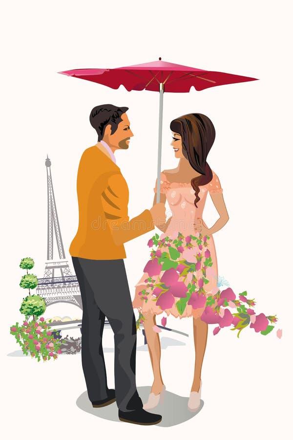 Vectorillustratie van romantische paren in liefde met bloemen stock illustratie