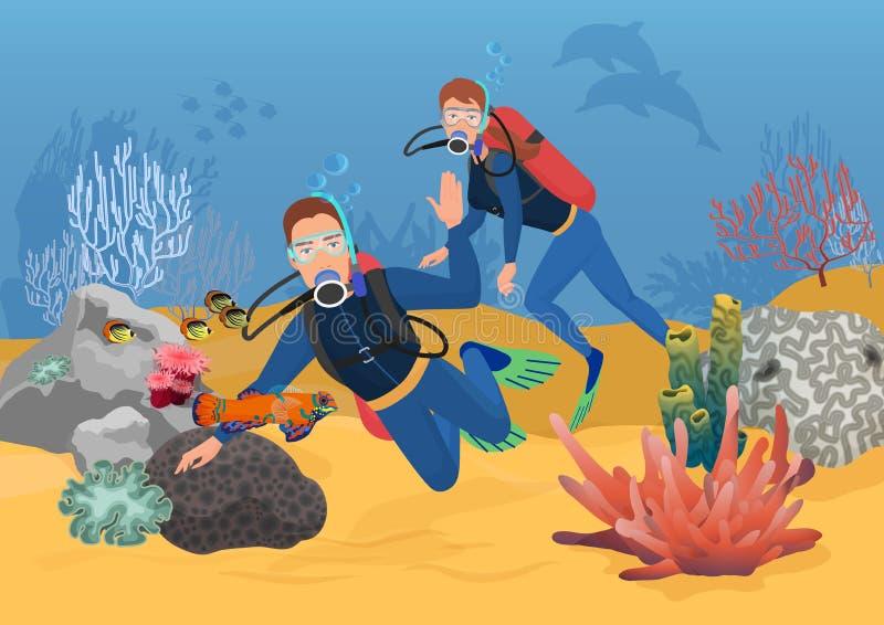 Vectorillustratie van scuba-duikers die terwijl het zwemmen in oceaanertsader begroeten stock illustratie