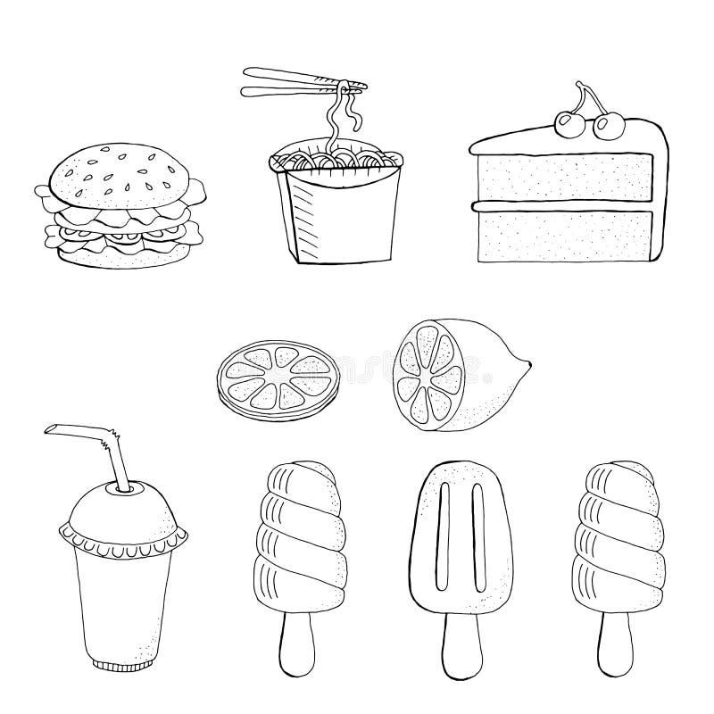 Vectorillustratie van Seth-voedsel Roomijs, cake, Hamburger, onmiddellijke noedels, limonade, sap, fruitijs, citroen Op witte ach stock illustratie