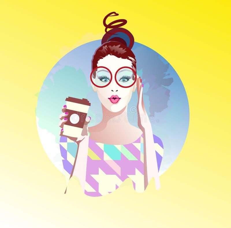 Vectorillustratie van slim meisje in glazen en kop van koffie vector illustratie