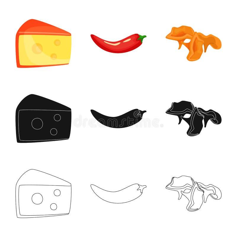 Vectorillustratie van smaak en productembleem Inzameling van smaak en kokende voorraad vectorillustratie vector illustratie