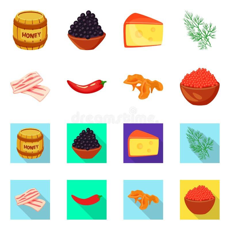 Vectorillustratie van smaak en productembleem Reeks van smaak en kokend vectorpictogram voor voorraad royalty-vrije illustratie