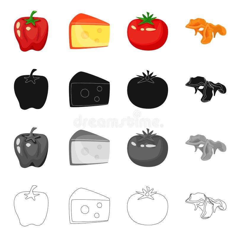 Vectorillustratie van smaak en productteken Inzameling van smaak en kokend voorraadsymbool voor Web royalty-vrije illustratie