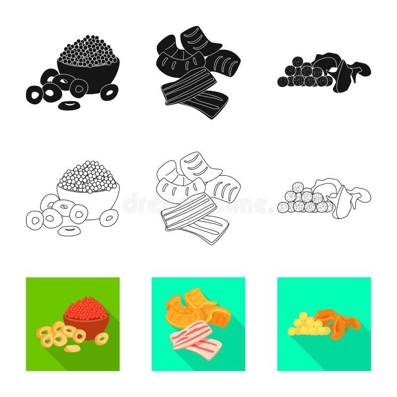 Vectorillustratie van smaak en seasonin embleem Inzameling van smaak en organisch voorraadsymbool voor Web stock illustratie