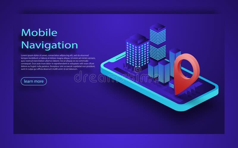 Vectorillustratie van smartphone met mobiele navigatie app op het scherm Routekaart met symbolen die plaats van de mens tonen stock illustratie