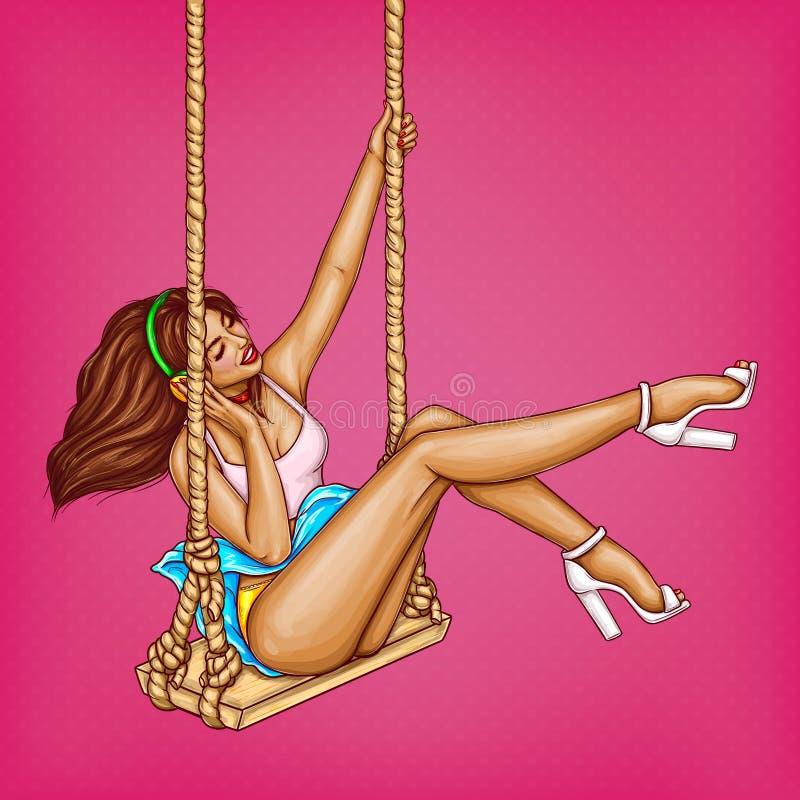 Vectorillustratie van speld omhoog sexy meisje op schommeling in hoofdtelefoons De minnaar van de pop-artmuziek in oortelefoons o stock illustratie