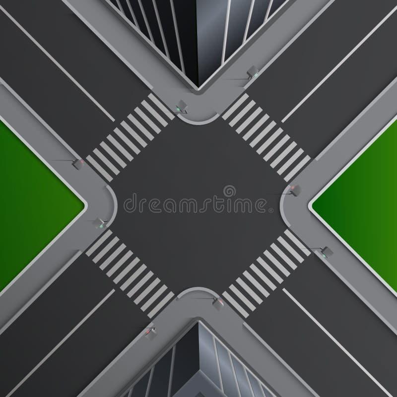 Vectorillustratie van stadsstraat met noteringen van voetcrossings, gebouwen en lown, kruispunt, hoogste mening vector illustratie